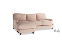 Large left hand Pavlova Chaise Sofa in Pink clay Clever Softie