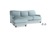 Large left hand Pavlova Chaise Sofa in Powder Blue Clever Softie