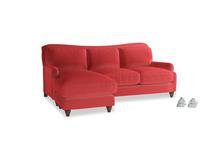 Large Left Hand Pavlova Chaise Sofa in True Red Plush Velvet