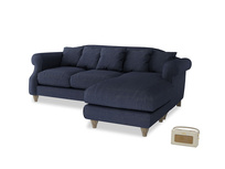 Large right hand Sloucher Chaise Sofa in Seriously Blue Clever Softie