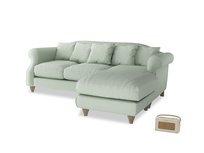 Large right hand Sloucher Chaise Sofa in Soft Green Clever Softie