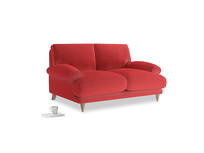 Small Slowcoach Sofa in True Red Plush Velvet