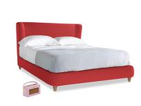 Kingsize Hugger Bed in True Red Plush Velvet