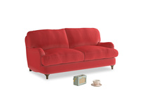 Small Jonesy Sofa in True Red Plush Velvet