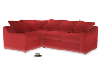 Large Left Hand Cloud Corner Sofa in True Red Plush Velvet