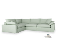 Large left hand Cuddlemuffin Modular Corner Sofa in Soft Green Clever Softie
