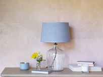 Flute glass table lamp with Sea Salt shade
