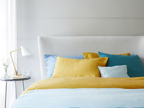 Tuscan Yellow lazy linen bedding