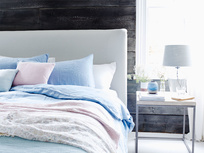 Cornflower blue lazy line bedding