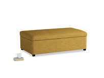 Double Bed in a Bun in Mellow Yellow Clever Laundered Linen