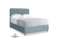 Double Billow Bed in Soft Blue Laundered Linen