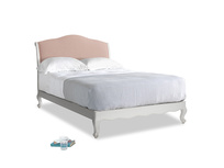 Double Coco Bed in Scuffed Grey in Pale Pink Clever Woolly Fabric