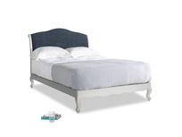 Double Coco Bed in Scuffed Grey in Selvedge Blue Laundered Linen