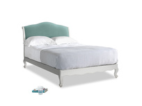 Double Coco Bed in Scuffed Grey in Greeny Blue Clever Deep Velvet