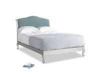 Double Coco Bed in Scuffed Grey in Soft Blue Laundered Linen