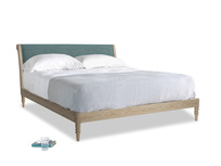 Superking Darcy Bed in Blue Turtle Laundered Linen