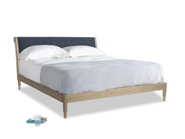 Superking Darcy Bed in Selvedge Blue Laundered Linen