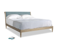 Superking Darcy Bed in Soft Blue Laundered Linen