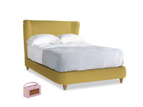 Double Hugger Bed in Easy Yellow Clever Woolly Fabric