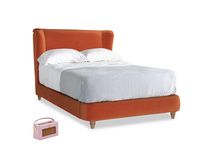 Double Hugger Bed in Old Orange Clever Deep Velvet
