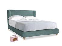 Kingsize Hugger Bed in Blue Turtle Clever Laundered Linen