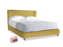 Kingsize Hugger Bed in Easy Yellow Clever Woolly Fabric