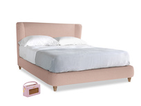 Kingsize Hugger Bed in Pale Pink Clever Woolly Fabric