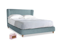 Kingsize Hugger Bed in Soft Blue Clever Laundered Linen