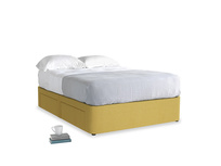 Double Tight Space Storage Bed in Easy Yellow Clever Woolly Fabric