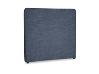 Double Ruffle Headboard in Selvedge Blue Clever Laundered Linen