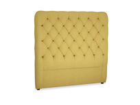 Double Tall Billow Headboard in Easy Yellow Clever Woolly Fabric