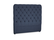 Double Tall Billow Headboard in Night Owl Blue Clever Woolly Fabric