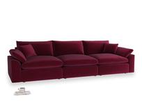 Large Cuddlemuffin Modular sofa in Merlot Plush Velvet