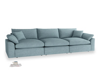 Large Cuddlemuffin Modular sofa in Soft Blue Clever Laundered Linen