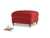 Small Square Flatster Footstool in Rusted Ruby Vintage Velvet