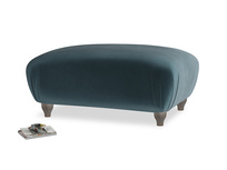 Rectangle Homebody Footstool in Bluey Grey Clever Deep Velvet