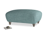Rectangle Homebody Footstool in Blue Turtle Laundered Linen