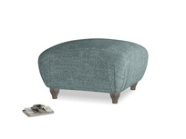 Small Square Homebody Footstool in Anchor Grey Clever Laundered Linen