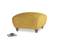 Small Square Homebody Footstool in Mellow Yellow Clever Laundered Linen