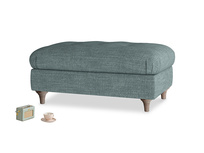 Rectangle Jammy Dodger Footstool in Anchor Grey Laundered Linen