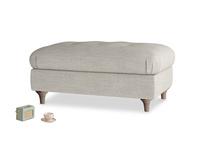 Rectangle Jammy Dodger Footstool in Grey Daybreak Laundered Linen
