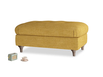 Rectangle Jammy Dodger Footstool in Mellow Yellow Laundered Linen