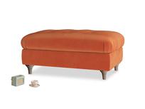 Rectangle Jammy Dodger Footstool in Old Orange Clever Deep Velvet