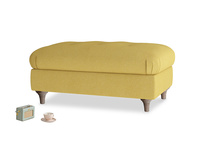Rectangle Jammy Dodger Footstool in Easy Yellow Clever Woolly Fabric