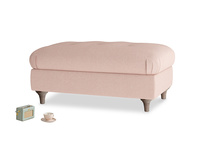 Rectangle Jammy Dodger Footstool in Pale Pink Clever Woolly Fabric