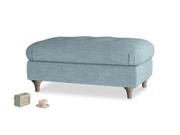 Rectangle Jammy Dodger Footstool in Soft Blue Laundered Linen