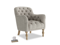Reader Armchair in Grey Daybreak Clever Laundered Linen