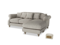 Large right hand Sloucher Chaise Sofa in Grey Daybreak Clever Laundered Linen