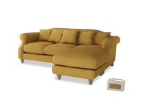 Large right hand Sloucher Chaise Sofa in Mellow Yellow Clever Laundered Linen