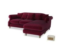 Large right hand Sloucher Chaise Sofa in Merlot Plush Velvet